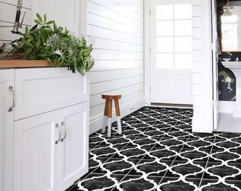 Zahara Vinyl Tile Sticker Pack in Black - Tile Decals - Floor Stickers