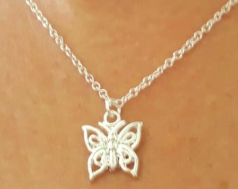 Butterfly Necklace - Silver Butterfly Necklace - Dainty Necklace - Animal Necklace - Butterfly Jewelry - 2 Sizes Available