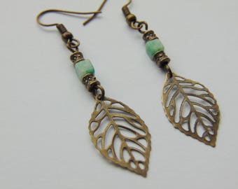 Jade and Bronze Leaf Drop Earrings
