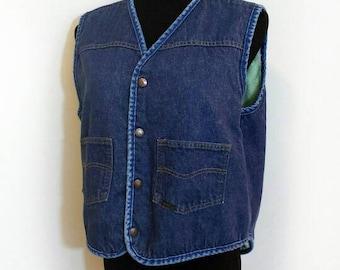 70s Denim Vest, Vintage Roebuck Sherpa Lined Blue Jean Vest Size Large