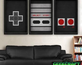 Nintendo Art, Nintendo, NES, Controller, Retro, Videogames, Gamer, Minimalist, Mario, Zelda, Samus, NES Controller Print Set