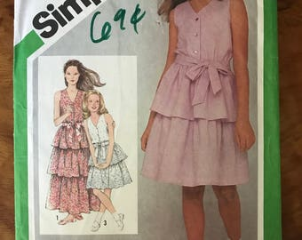 Simplicity 9934 - 1980s Girl's Sleeveless Summer Dress with Tiered Skirt in Knee or Maxi Length - Size 8 Chest 27""