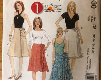 McCalls M5430 - 1 Hour Wrap Skirt with Pleats, Trim, Pockets and Length Options - Size 12 14 16 18 20