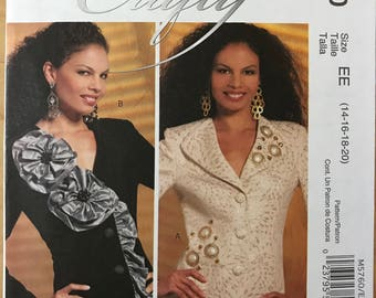 McCalls M5760 - Crafty Button Front Jacket with Princess Seams and Optional Flower or Jewel Stone Trim - Size 14 16 18 20