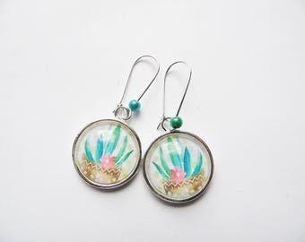 """""""Aloe Vera"""" silver jewelry fancy glass cabochon earrings sleepers"""