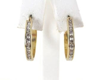 14k Yellow Gold Diamond Hoop Earrings - 14k Yellow Gold Diamond Earrings 0.50 carat