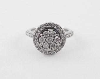 14k White Gold Halo Diamond Ring 1.25 carats - Cluster Design Diamond Ring