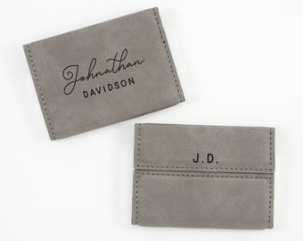 Personalized Business Card Holder - Business Gift - Boss Gift - Leatherette Card Holder - Corporate Gift - Career Advancement Gift - New Job