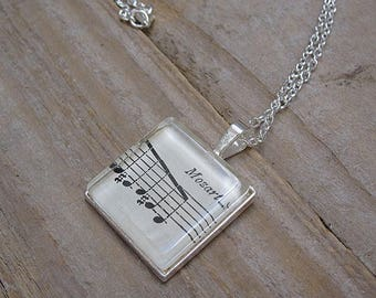 Mozart Necklace - Vintage Music Book Pendant - Gift for Musician or Mozart Fan