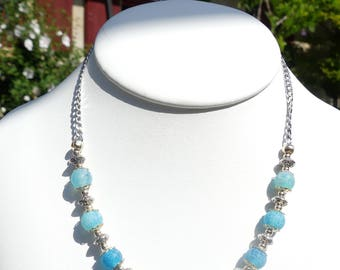 Blue cracked agate necklace