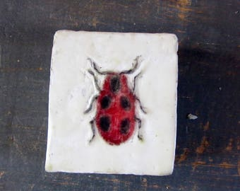 Encaustic Painting - Lady Bug - Insect Art - Ladybug  Art - Original Art - Photo Image Transfer -  Wood Panel - Small Painting