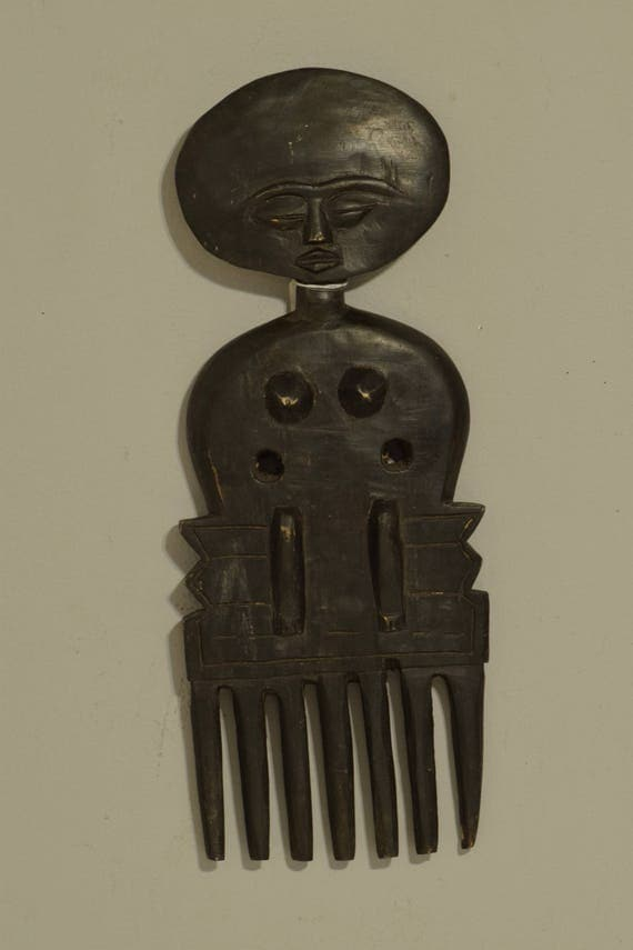 African Comb Vintage Ashanti Female Wood Hair Ghana Handmade Wood Woman Status Female Status Beauty Ashanti Comb