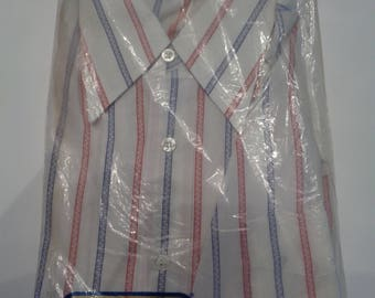 Vintage Excello Shirt - Mens Button Down Shirt - Red White and Blue Striped Shirt - 75 Collar - NOS Deadstock