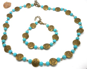 Set necklace bracelet style ethnic blue charms and co.