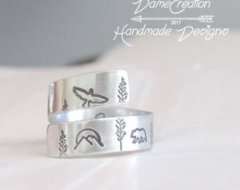 Mountain Ring Silver Jewelry, Hiking Gifts for Women Jewelry, Mountain Range Ring, Mountain Landscape Jewelry