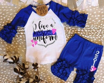 I Love a Man in Uniform Shirt,Thin Blue Line Toddler Shirt,Police Office Toddler Shirt,Police Daughter Gift,Police Officer Girl Gift