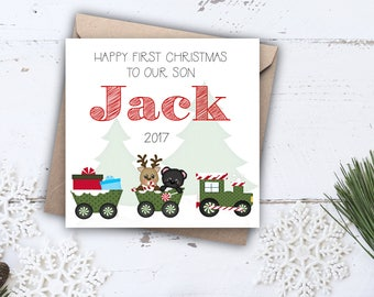 Baby's First Christmas Card with Train, Handmade & Personalised for 1st Christmas for Son, Grandson, Daughter, Niece, Nephew, Granddaughter