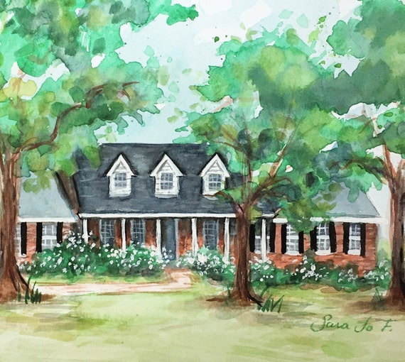 "Custom Watercolor Home Portrait 11""x15"""