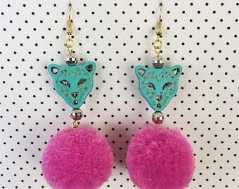 Pom Pom Cat Earrings ( Teal and Magenta )