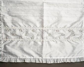 Christening Blanket G006 | Baptism Blanket White or Ivory | Handmade 100% Silk | Christening or Baptism Gift Blanket
