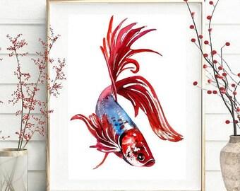 Fish Art Print,ORIGINAL Watercolor Fish Painting,Home decor 033