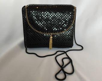 Vintage, Black and Gold Mesh Evening Bag/ Clutch
