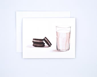Milk and Cookies Notecards - Blank Watercolor Notecards - Watercolor Stationary - Foodie Gift - Food Illustration -  Sweets Lover