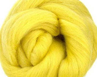 Merino Wool Combed Top/Roving by the Ounce or by the Pound - Buttercup