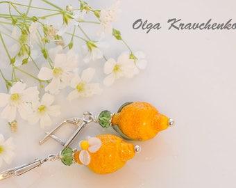 Artisan Glass Lemon  Beads Earrings Silver earrings Lampwork Lemon  earrings  glass earrings Unique jewelry women