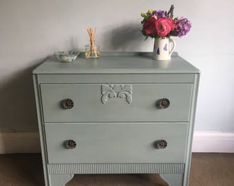 Upcycled Vintage Hand Painted Distressed Detailed Duck Egg Blue Small Lebus 2 Drawer Storage Chest of Drawers