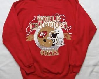 Vintage 1980s San Francisco 49ers RAGLAN Sweatshirt ~ Fits S ~ Hanes ~ 1988 ~ Super Bowl Champions ~ Jumper ~ Crewneck