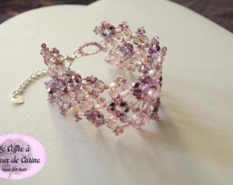 Pink, purple and violet - Crystal bracelet Crystal Cuff Bracelet Christmas holiday wedding - pink and purple