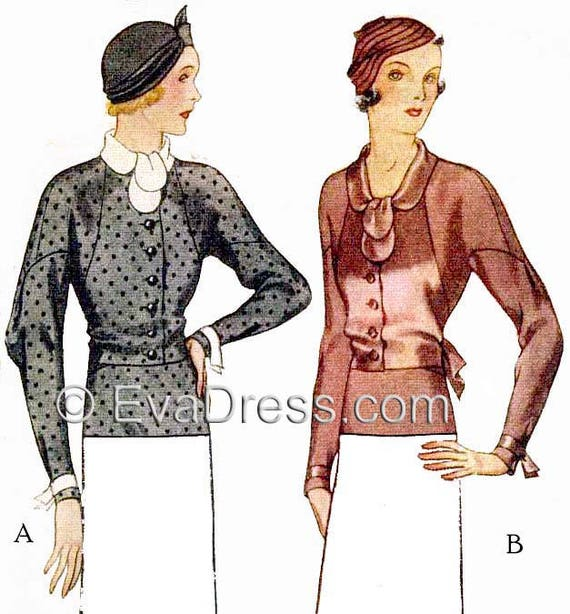 1930s Style Tops, Blouses & Sweaters 1932 Blouse Dress Pattern by EvaDress $15.00 AT vintagedancer.com
