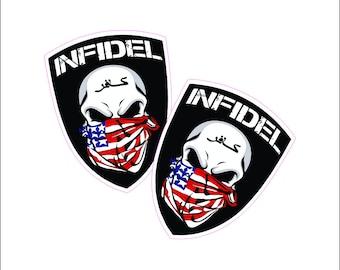 Infidel Skull Bandanna Printed Vinyl Decal / Sticker 2(TWO) Pack