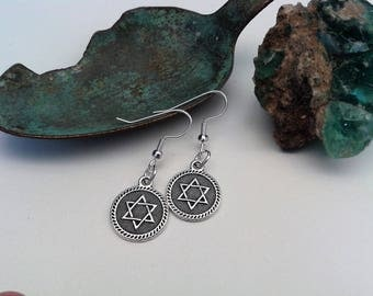 Star of David earrings; Silver plated Magen David earrings; Modest fashion; Judaica jewelry;Jewish symbol jewelry;Gift from Israel