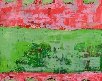 Pink & Green Abstract Painting. Original Acrylic Art. Mixed Media Collage. Birthday Gift for Wife's Birthday. Home Wall Art