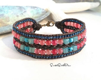 Braided Leather Bracelet, Leather Beaded Cuff, Boho Bracelet, Gemstone Cuff, Beaded Leather, Braided Leather Cuff, Unique, Gifts For Her