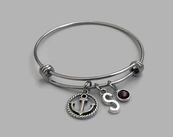 Sailboat Charm Bangle, Sailboat Charm Bracelet, Sailboat Bracelet, Boat Charm, Boat Bracelet, Boat Bagle, Nautical Charm, Sea Charm, Initial