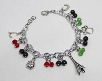 Inspired Miraculous Ladybug and Cat Noir Charm Bracelet, LadyNoir, Chat Noir, Adrien Agreste, Marinette Dupain Cheng