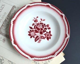 French Art Deco Bowl Red Floral Stencilware Dish Digoin & Sarreguemines Cevennes
