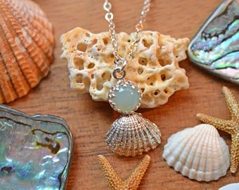 Seafoam Chalcedony Seashell Necklace - Sterling Silver, Small Shell