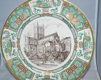 Mason's Ironstone plate / Mason / ironstone / plate / England / Wells Cathedral / green / gold / ironstone plate / English ironstone / dish