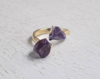 Raw Stone Ring, Amethyst Ring, Raw Amethyst Ring, Raw Crystal Ring, Gemstone Ring, Purple Stone Ring, Two Stones Ring, Statement Ring G5-725