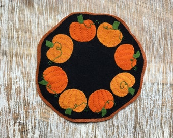 Pumpkins Felted Wool Candle Mat Penny Rug