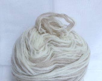 Fawn Blend White Buffalo Yarn Cake Thick Full 100% Real Pure Virgin Wool Felting Yarn Destash Authentic Cowichan Sweater Yarn Made in Canada