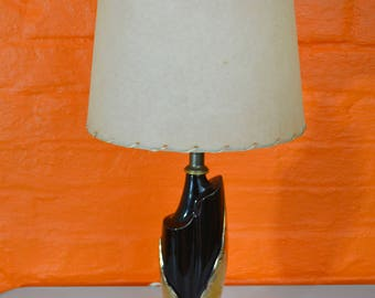 Mid Century Modern Atomic Art Deco Black and Gold Ceramic Table Lamp