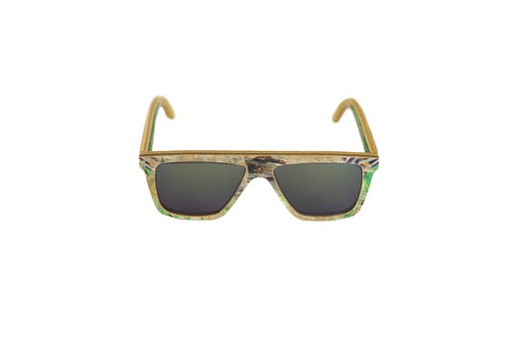 Skateboard recycled sunglasses FUNBOX shape #297 ! green white black shimmer grey glass category 3 #madeinfrance