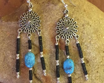 Southwestern Turquoise Earrings, Beaded Native Earrings, Silver Dangle Earrings, Southwestern Jewelry, Turquoise Jewelry, Western Jewelry