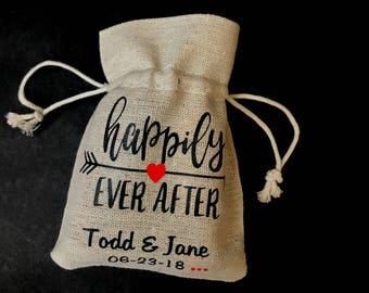 Wedding Favor Burlap Bags - wedding thank you gifts - burlap party favor bags - wedding party - personalized bags - wedding candy bags