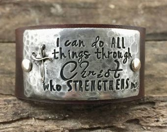 I can do all things through Christ who strengthens me Leather Cuff Scripture jewelry Encouragement gift Cross bracelet Inspirational gift